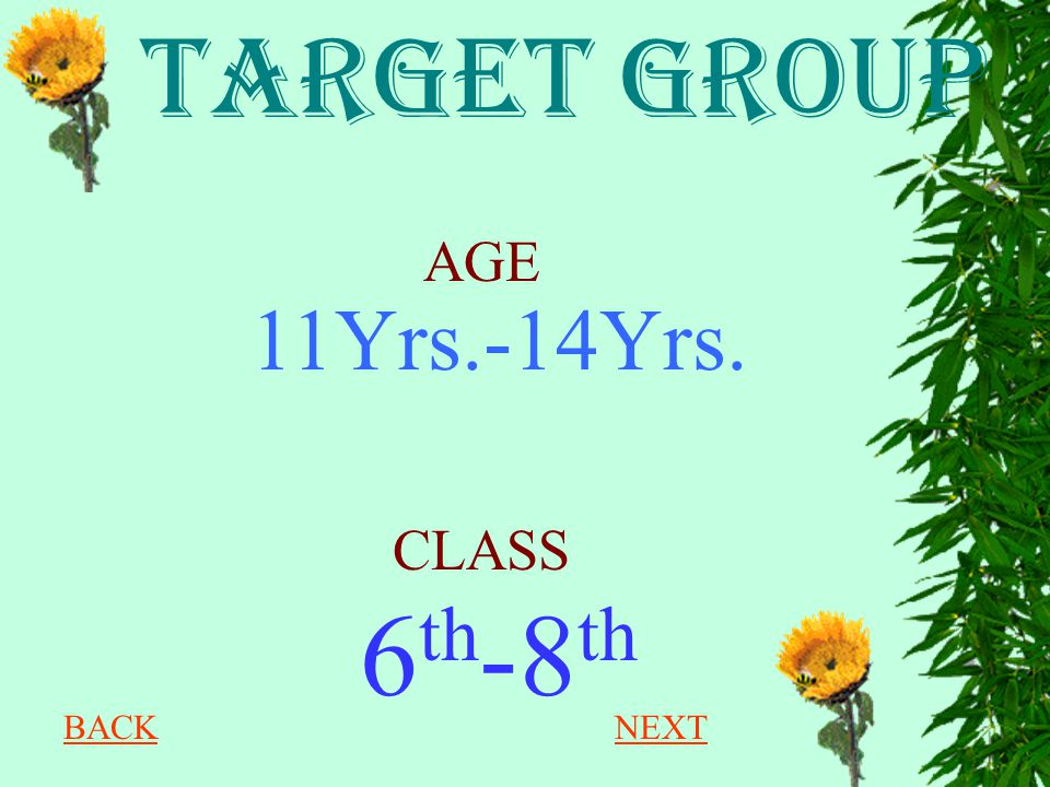 TARGET GROUP AGE 11Yrs.-14Yrs. CLASS 6th-8th BACK NEXT