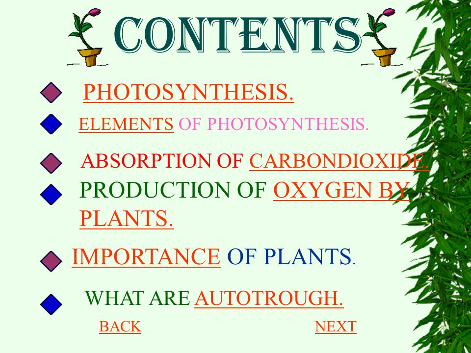 CONTENTS PHOTOSYNTHESIS. PRODUCTION OF OXYGEN BY PLANTS.