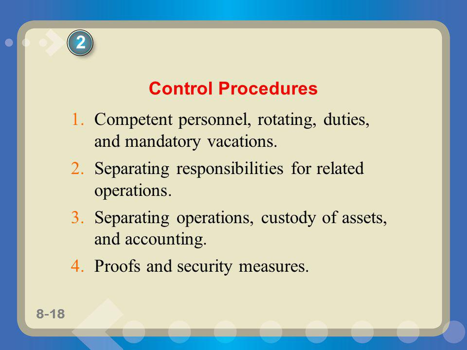 2 Control Procedures. Competent personnel, rotating, duties, and mandatory vacations. Separating responsibilities for related operations.