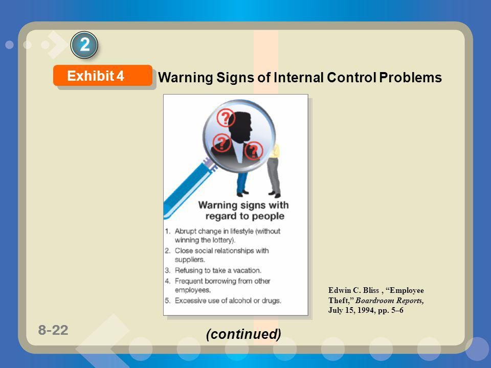 2 Exhibit 4 Warning Signs of Internal Control Problems (continued)