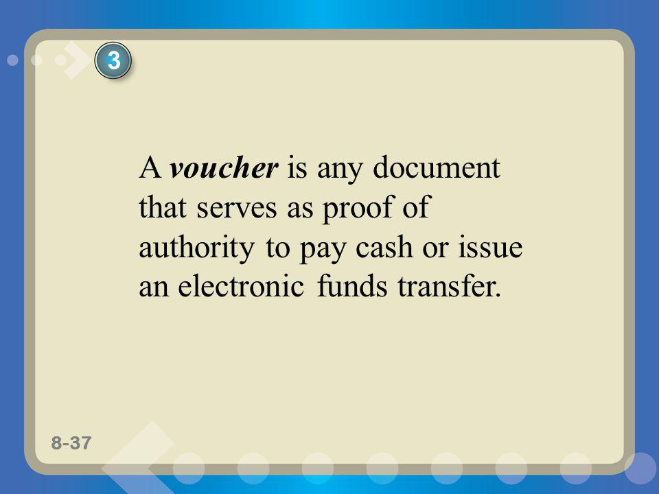 3 A voucher is any document that serves as proof of authority to pay cash or issue an electronic funds transfer.