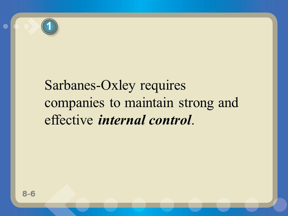 1 Sarbanes-Oxley requires companies to maintain strong and effective internal control.