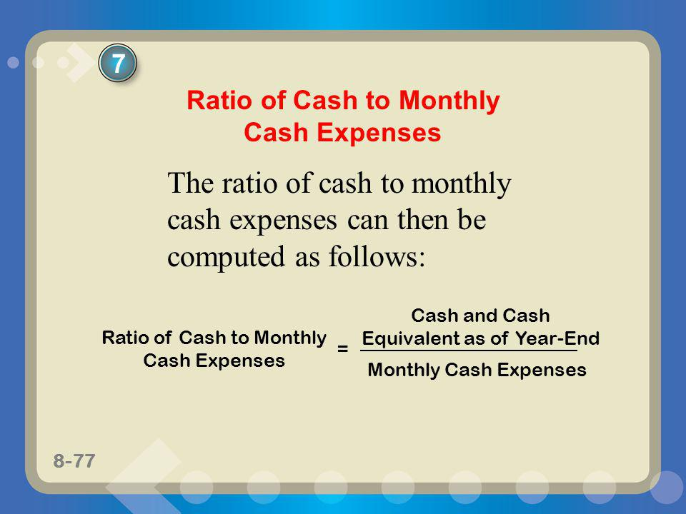 Ratio of Cash to Monthly Cash Expenses