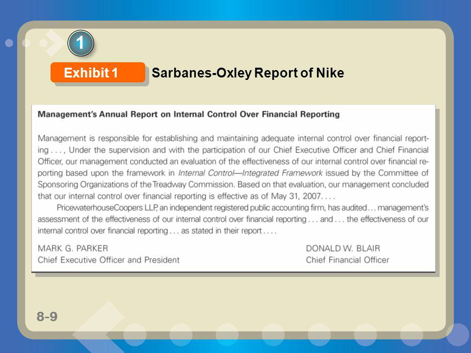 1 Exhibit 1 Sarbanes-Oxley Report of Nike