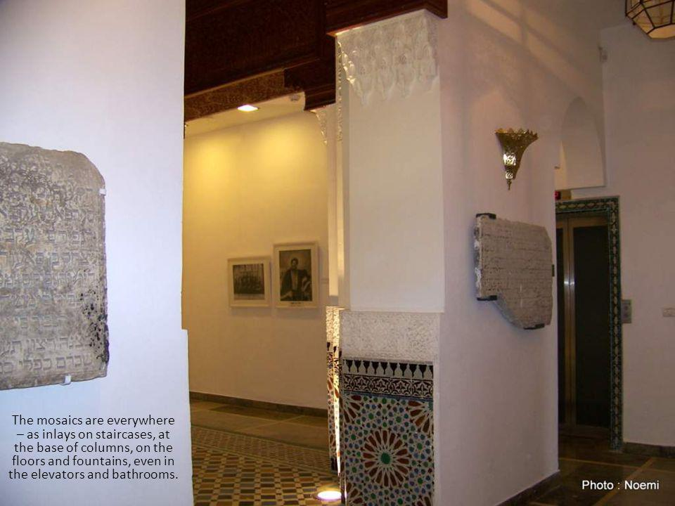 The mosaics are everywhere – as inlays on staircases, at the base of columns, on the floors and fountains, even in the elevators and bathrooms.