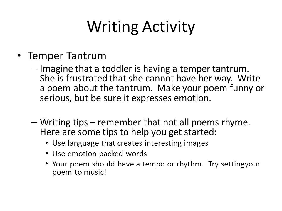 Writing Activity Temper Tantrum