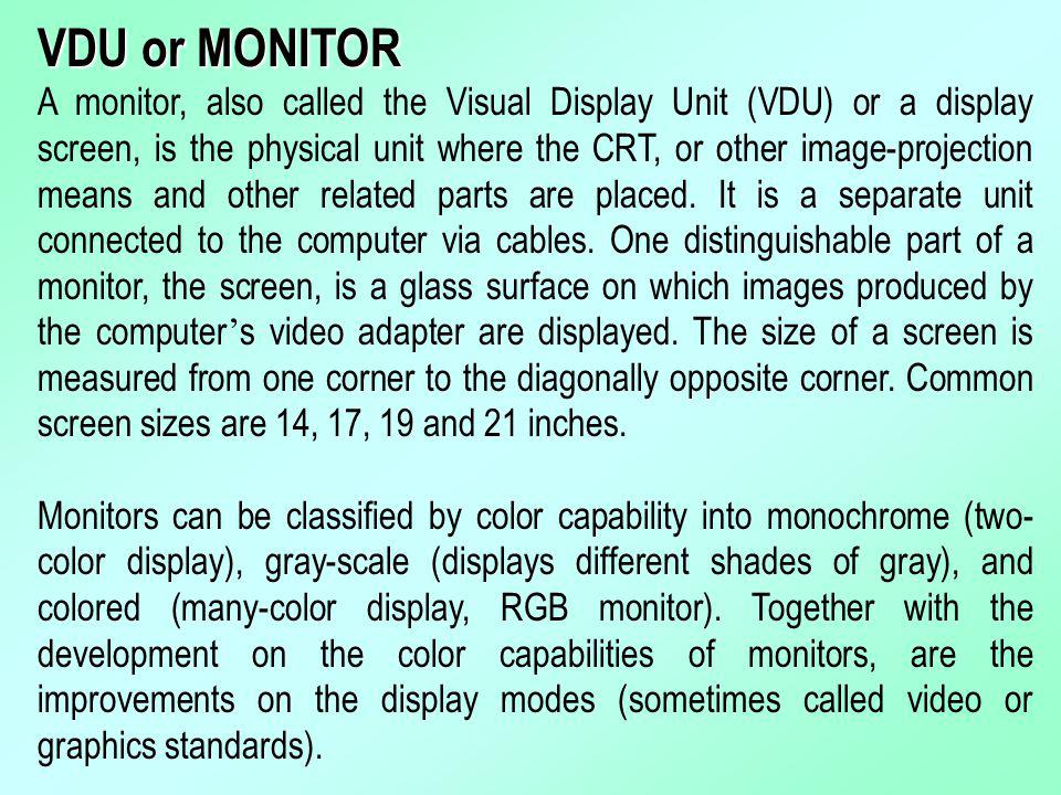 VDU or MONITOR
