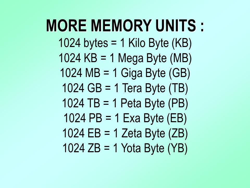 MORE MEMORY UNITS : 1024 bytes = 1 Kilo Byte (KB)