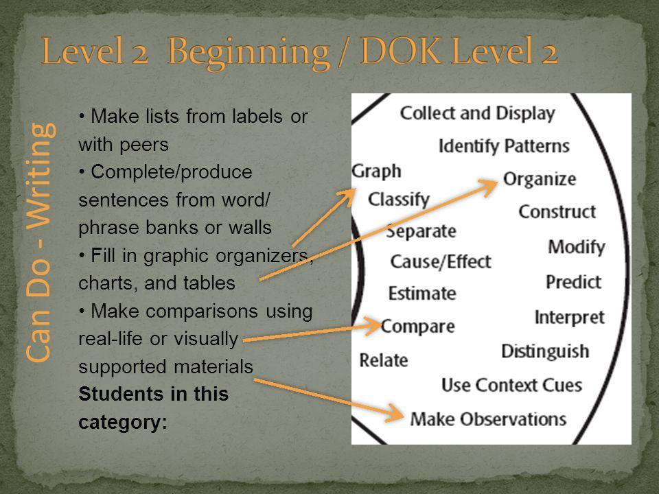 Level 2 Beginning / DOK Level 2