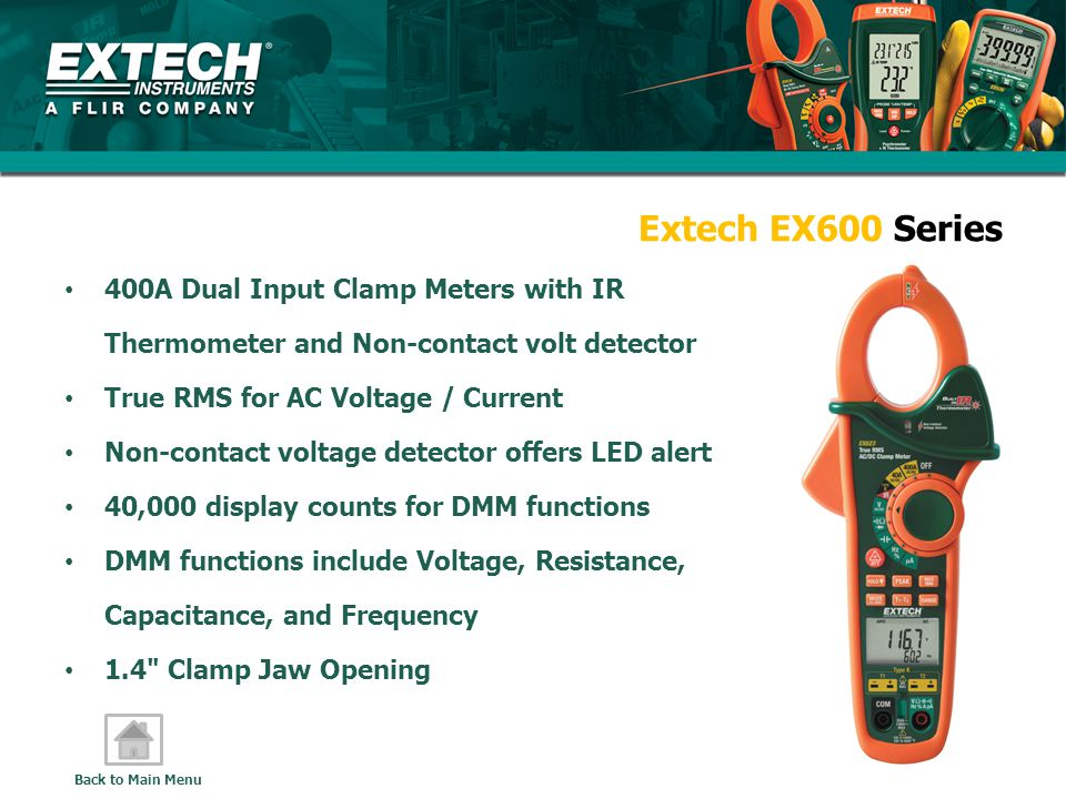 Extech EX600 Series 400A Dual Input Clamp Meters with IR