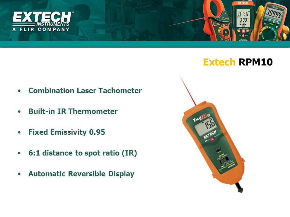 Extech RPM10 Combination Laser Tachometer Built-in IR Thermometer