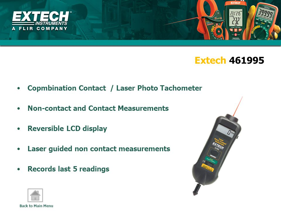 Extech 461995 Copmbination Contact / Laser Photo Tachometer