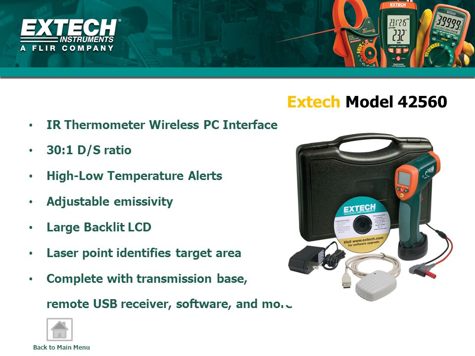 Extech Model 42560 IR Thermometer Wireless PC Interface 30:1 D/S ratio