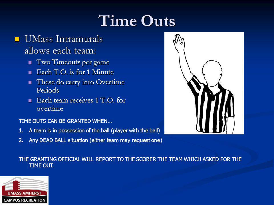 Time Outs UMass Intramurals allows each team: Two Timeouts per game