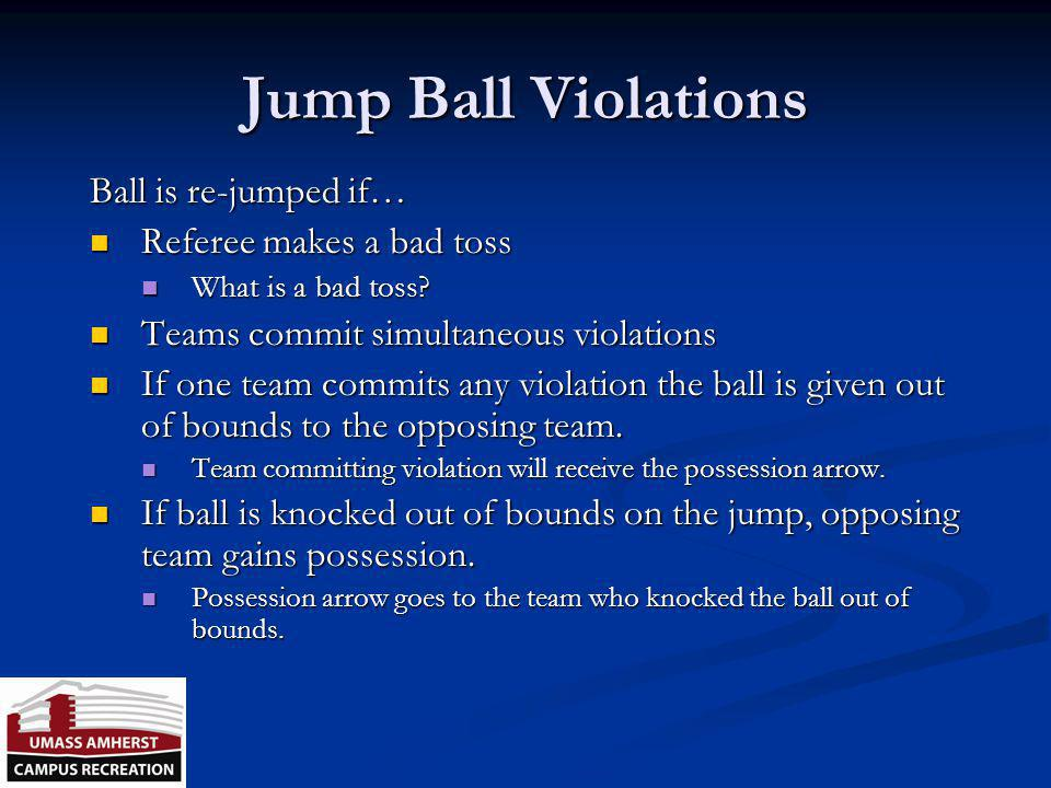 Jump Ball Violations Ball is re-jumped if… Referee makes a bad toss