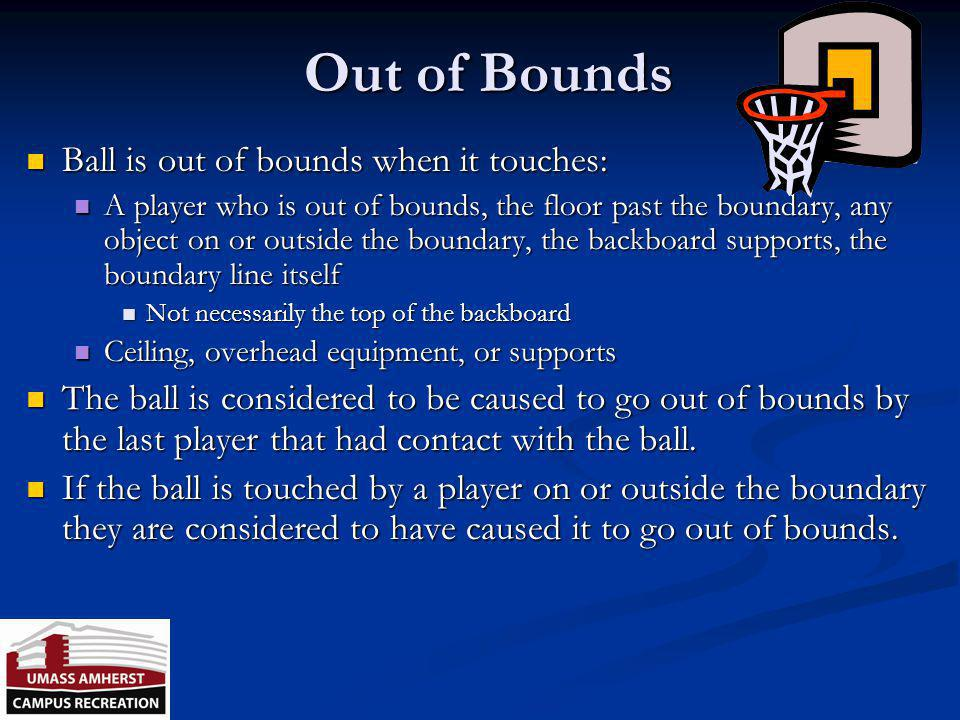 Out of Bounds Ball is out of bounds when it touches:
