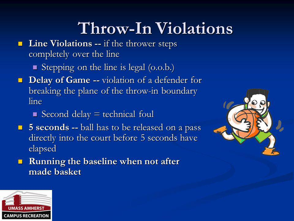 Throw-In Violations Line Violations -- if the thrower steps completely over the line. Stepping on the line is legal (o.o.b.)
