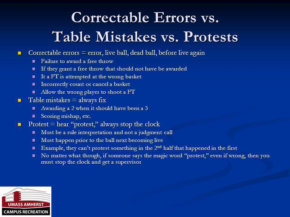 Correctable Errors vs. Table Mistakes vs. Protests