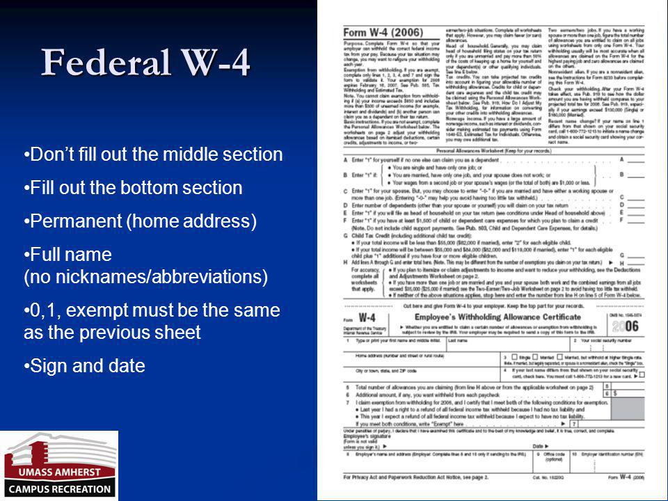 Federal W-4 Don't fill out the middle section