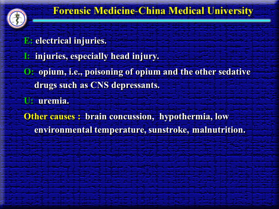 E: electrical injuries.