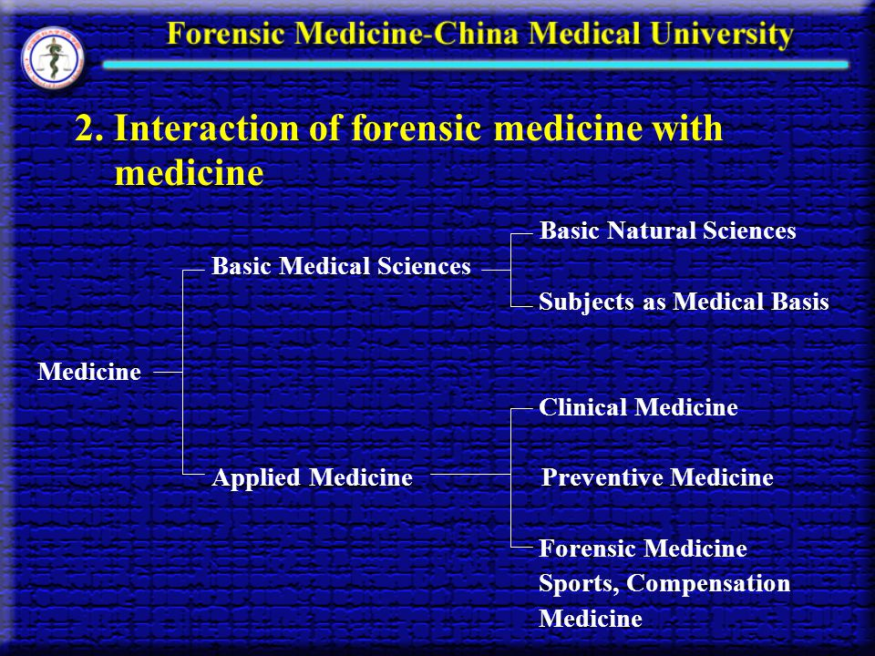 2. Interaction of forensic medicine with medicine