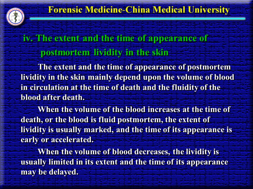 iv. The extent and the time of appearance of