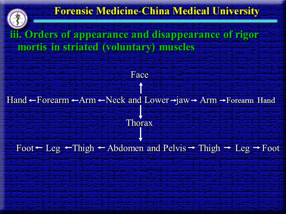 iii. Orders of appearance and disappearance of rigor mortis in striated (voluntary) muscles