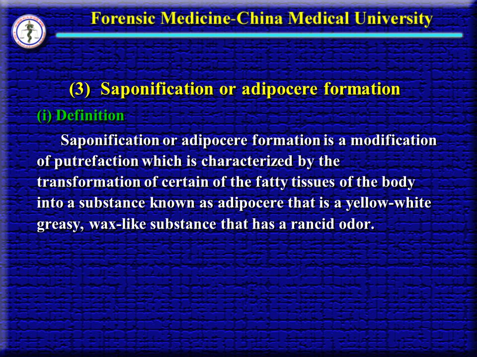 (3) Saponification or adipocere formation