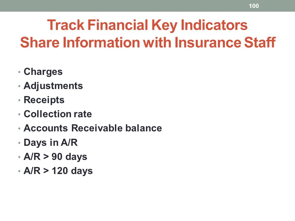 Track Financial Key Indicators Share Information with Insurance Staff