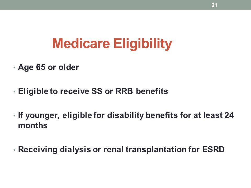 Medicare Eligibility Age 65 or older