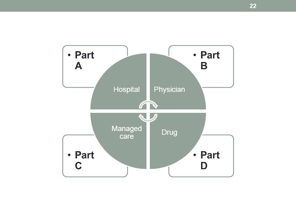 Hospital Part A Physician Part B Drug Part D Managed care Part C