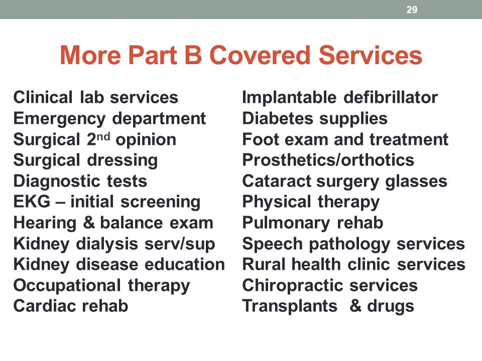 More Part B Covered Services