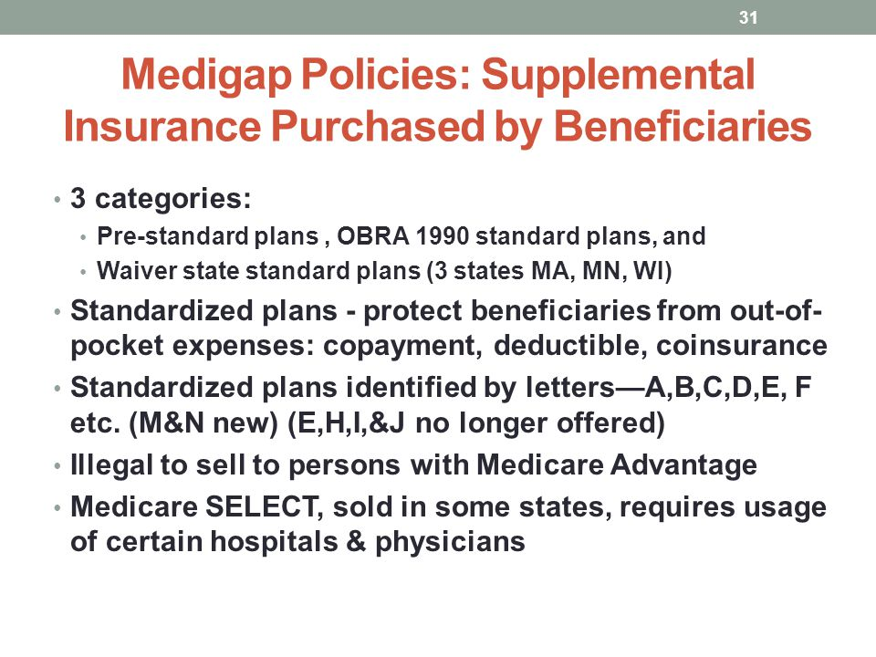 Medigap Policies: Supplemental Insurance Purchased by Beneficiaries