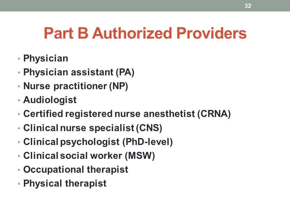 Part B Authorized Providers