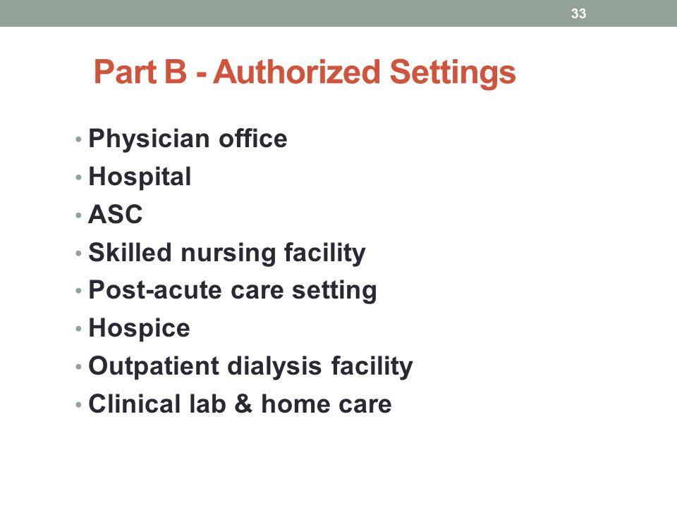 Part B - Authorized Settings