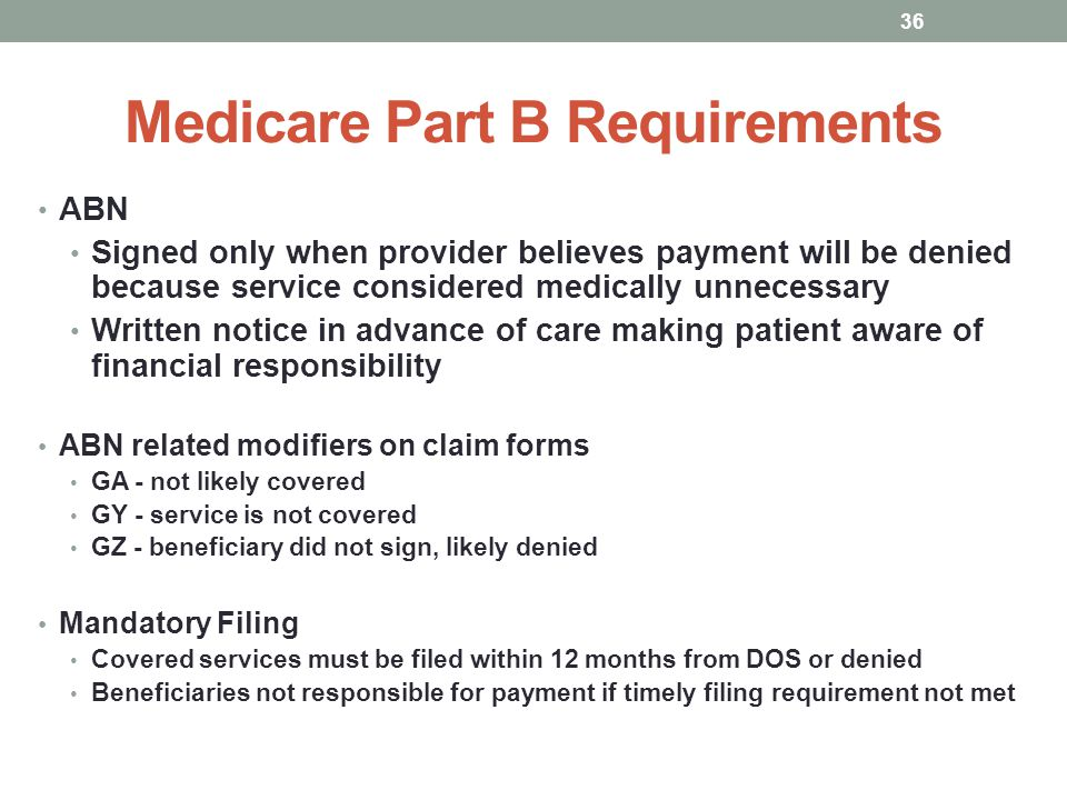 Medicare Part B Requirements