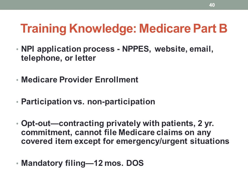 Training Knowledge: Medicare Part B