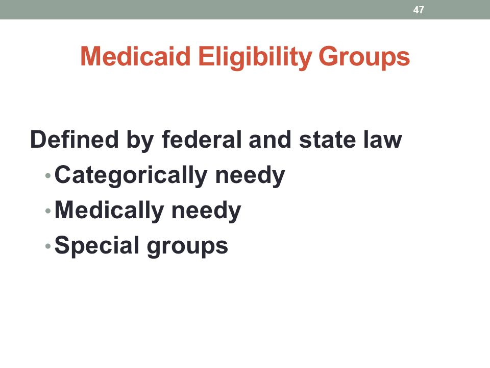 Medicaid Eligibility Groups