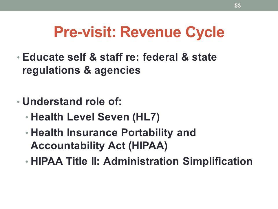 Pre-visit: Revenue Cycle
