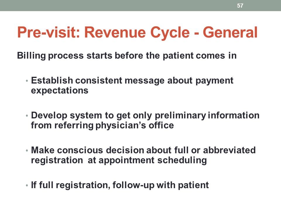 Pre-visit: Revenue Cycle - General