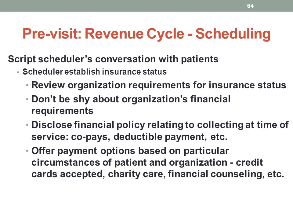 Pre-visit: Revenue Cycle - Scheduling