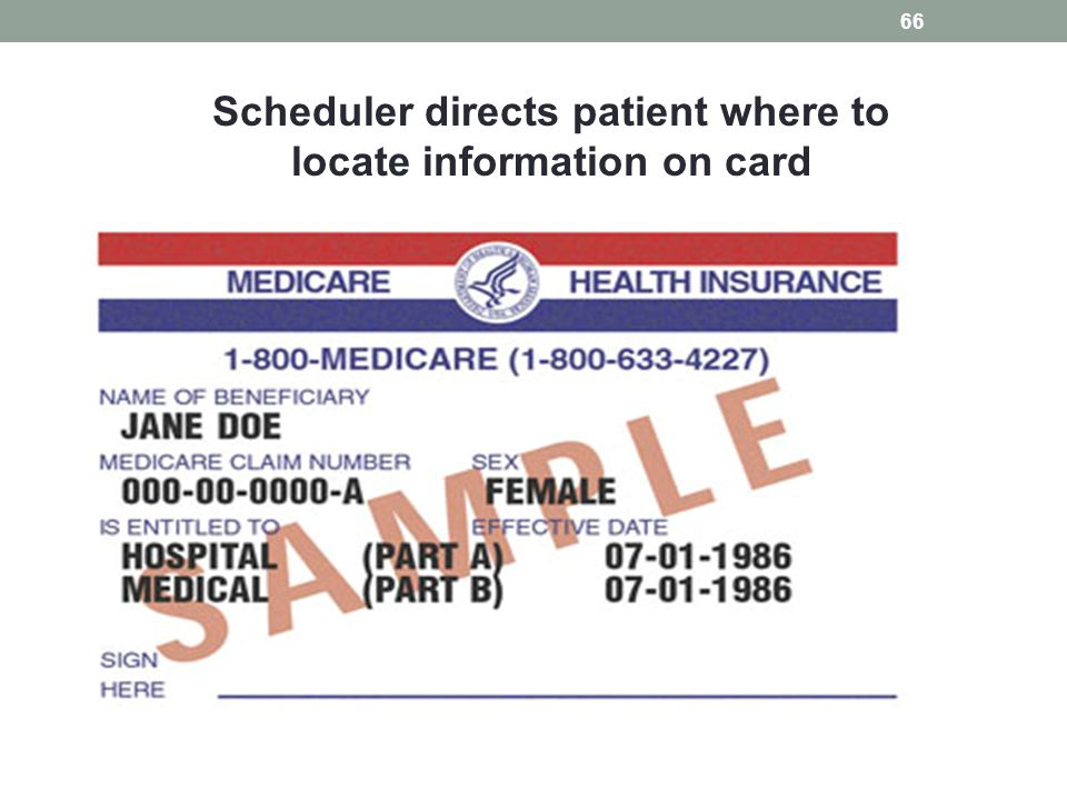 Scheduler directs patient where to locate information on card