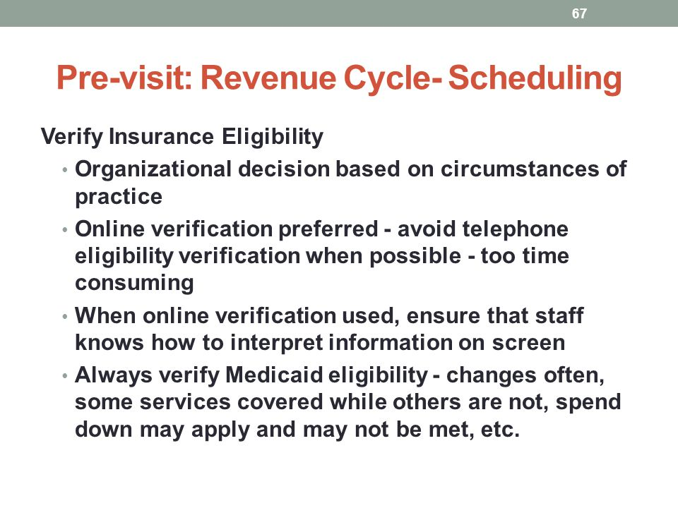 Pre-visit: Revenue Cycle- Scheduling