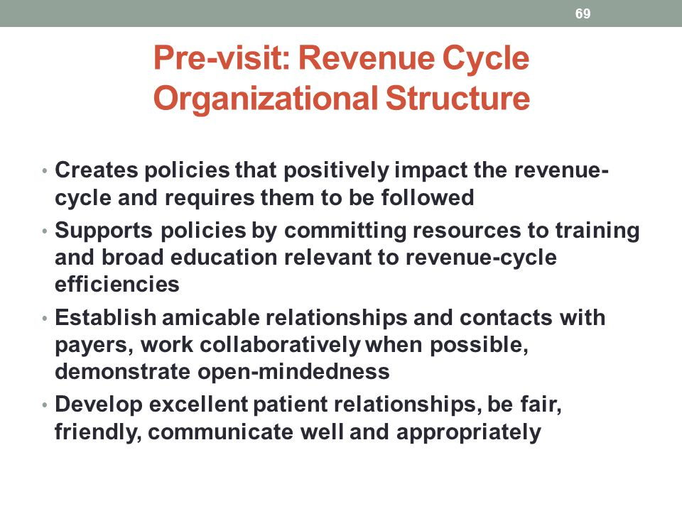 Pre-visit: Revenue Cycle Organizational Structure
