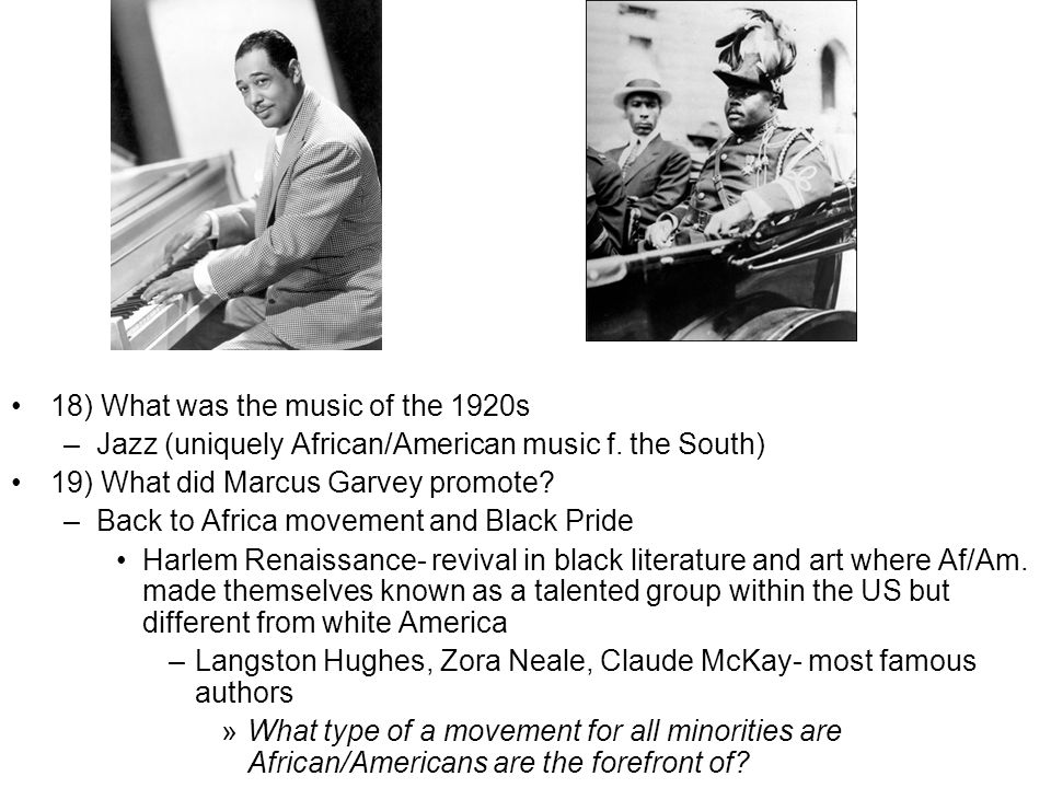 18) What was the music of the 1920s