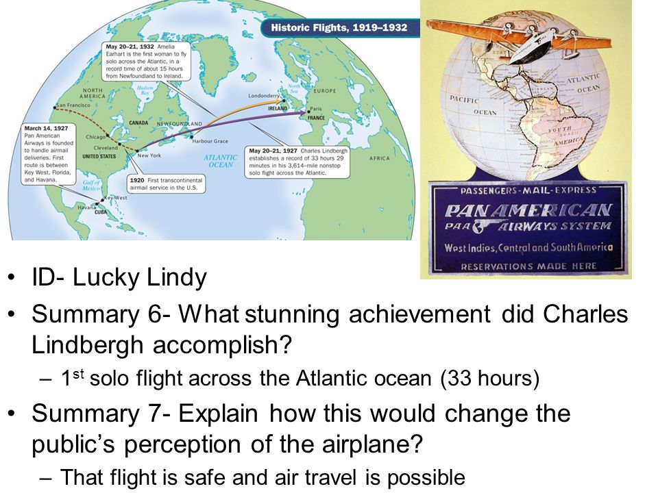 Summary 6- What stunning achievement did Charles Lindbergh accomplish