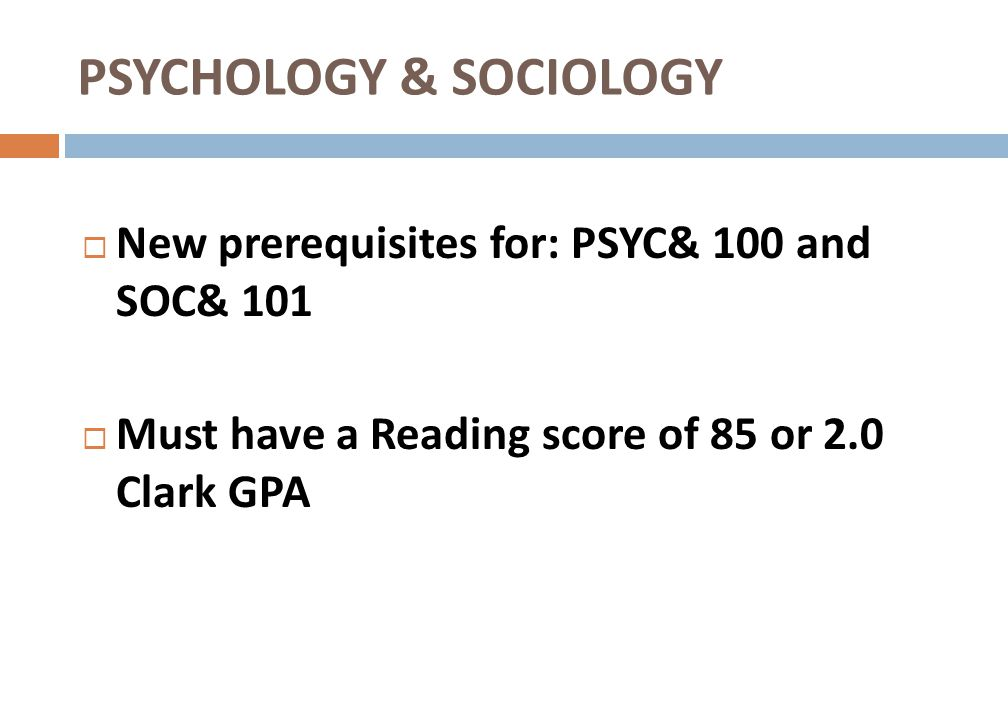PSYCHOLOGY & SOCIOLOGY