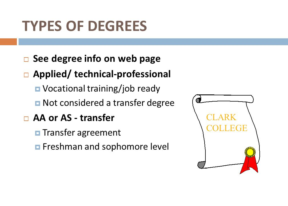 TYPES OF DEGREES See degree info on web page