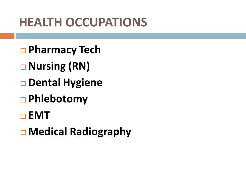 HEALTH OCCUPATIONS Pharmacy Tech Nursing (RN) Dental Hygiene