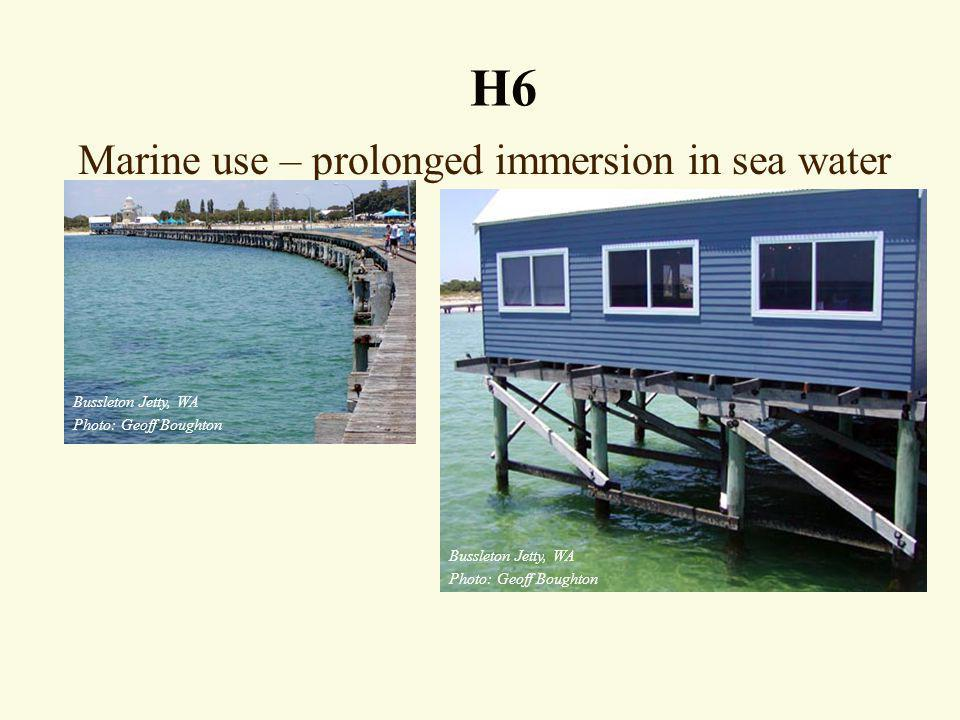 Marine use – prolonged immersion in sea water